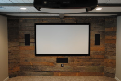 Hardwood Media Room Wall